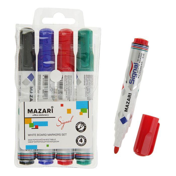 Набор маркеров для доски Mazari Signal, 4 цвета, 4.0 мм *
