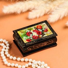"""Casket """"Flowers"""" 6×9 cm, lacquer miniature"""