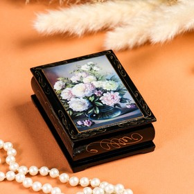 Шкатулка «Пионы в вазе», 8×10 см, лаковая миниатюра