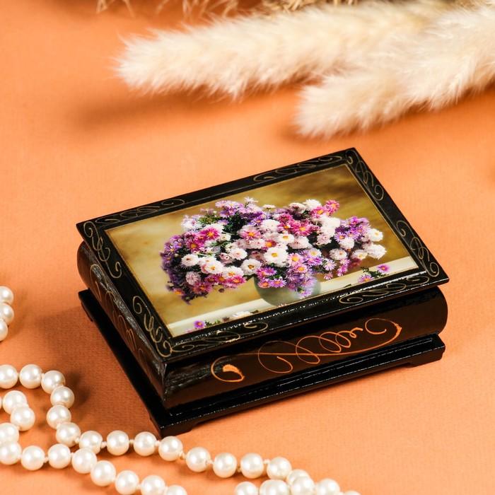 Шкатулка «Цветы», 8×10 см, лаковая миниатюра - фото 797813213