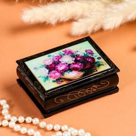 Шкатулка «Цветы», 8×10 см, лаковая миниатюра