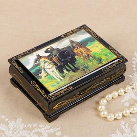 Шкатулка «Три богатыря», 8×10 см, лаковая миниатюра