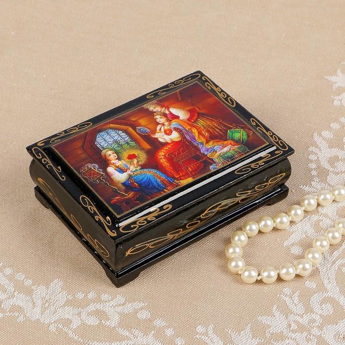 Шкатулка «Аленький цветочек», 8×10 см, лаковая миниатюра - фото 797813228