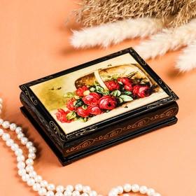 Шкатулка «Розы в корзинке», 10×14 см, лаковая миниатюра