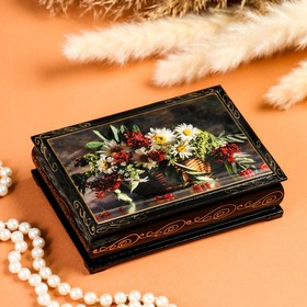 Шкатулка «Ромашки с ягодами в корзине», 10×14 см, лаковая миниатюра