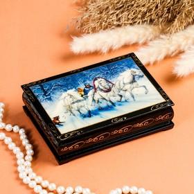 Шкатулка «Зимняя тройка», 10×14 см, лаковая миниатюра
