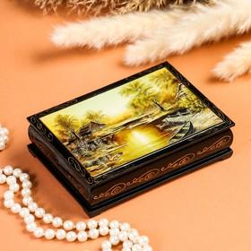 Шкатулка «Закат», 10×14 см, лаковая миниатюра