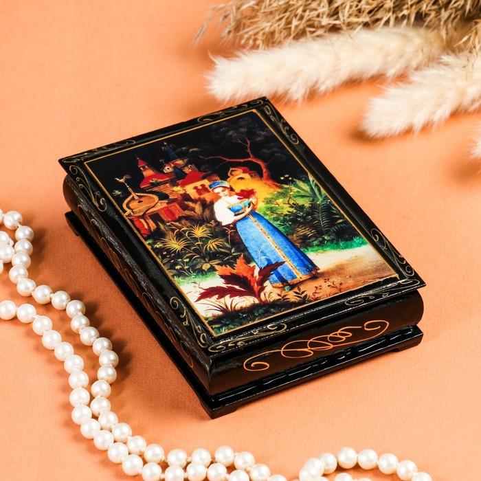 Шкатулка «Аленький цветочек», 10×14 см, лаковая миниатюра - фото 797813252