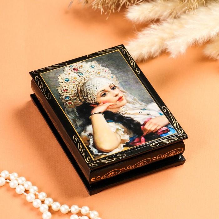 Шкатулка «Царевна», лаковая миниатюра, 10х14 см