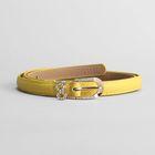 Ремень женский, гладкий, пряжка золото, хомут стразы, ширина - 1,5 см, цвет жёлтый