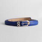 Ремень женский, гладкий, пряжка золото, хомут стразы, ширина - 1,5 см, цвет синий