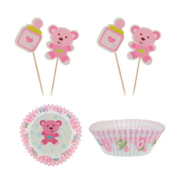 """Украшение для кексов """"Малыш мишутка"""", набор 24 пики, 24 формочки, цвет розовый"""