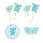 """Украшение для кексов """"Малыш мишутка"""", набор 24 пики, 24 формочки, цвет голубой"""