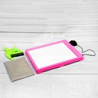 Планшет для рисования песком, песок 1 кг, совочек и метелочка, цв.роз. подсветка желтая