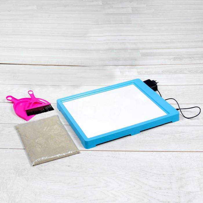 Планшет для рисования песком, песок 1 кг, совочек и метелочка, цвет синий, подсветка желтая 214374