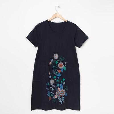 Платье женское, цвет синий, принт МИКС, размер 48