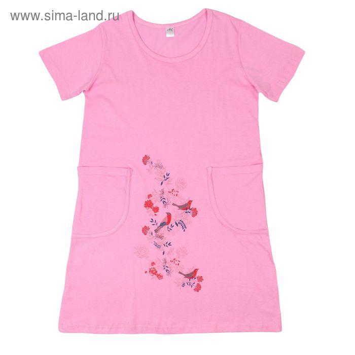 Платье женское 30449, цвет розовый, принт МИКС, р-р 48