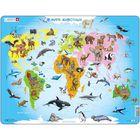 """Пазл """"Карта мира с животными"""", 28 деталей (A34)"""