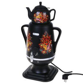 """Самовар электрический """"Добрыня"""" DO-416, 1850 Вт, 4 л, черный с цветами"""