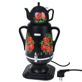 Самовар электрический 'Добрыня' DO-423, 1850 Вт, 4 л, черный с цветами Ош