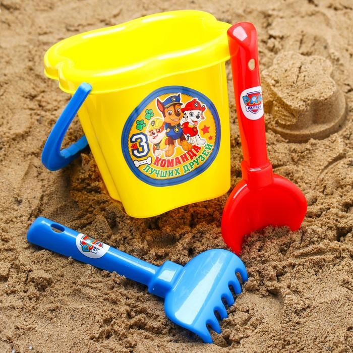 """Щенячий патруль. Набор для игры с песком """"Команда друзей"""", 3 предмета, цвет МИКС, 800 мл"""