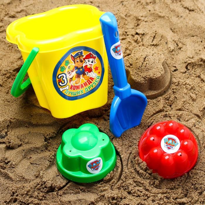 """Щенячий патруль. Набор для игры с песком """"Команда друзей"""", 4 предмета, цвет МИКС, 800 мл"""
