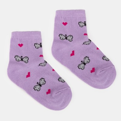 "Children's socks "", Economia"" Butterflies, size 14 (3-4 years), color lilac"