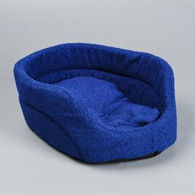 Лежанка овальная, 38 х 25 х 14 см, мебельная ткань, синяя