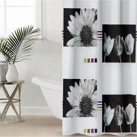 Штора для ванной комнаты Доляна «Белые цветы», 180×180 см, EVA