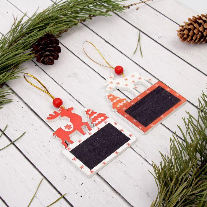 """Подвеска новогодняя """"Лесные жители"""" с досочкой для пожеланий, под мел, МИКС, размер доски: 5.5 × 3.5 см"""