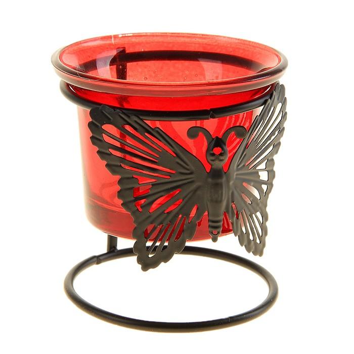 """Подсвечник """"Бабочка"""", цвет красный"""