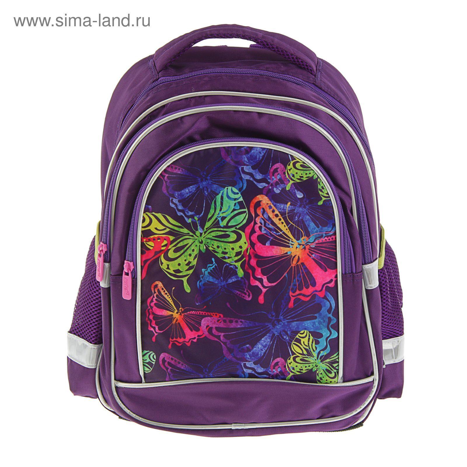 b8e94c300148 Рюкзак школьный Kite 509 Neon butterfly, 38 х 29 х 13 см, фиолетовый ...