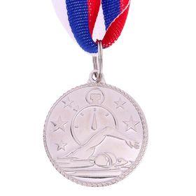 Медаль тематическая «Плавание», серебро, d=3,5 см