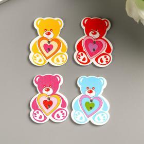 "A set of buttons decorative wood ""Bear"" (set 8 PCs) 3x4 cm"
