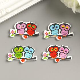 "A set of buttons decorative tree ""Owlets on a branch"" (set 8 PCs) 2x3,5 cm"