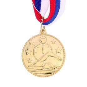 Медаль тематическая «Плавание», золото, d=3,5 см