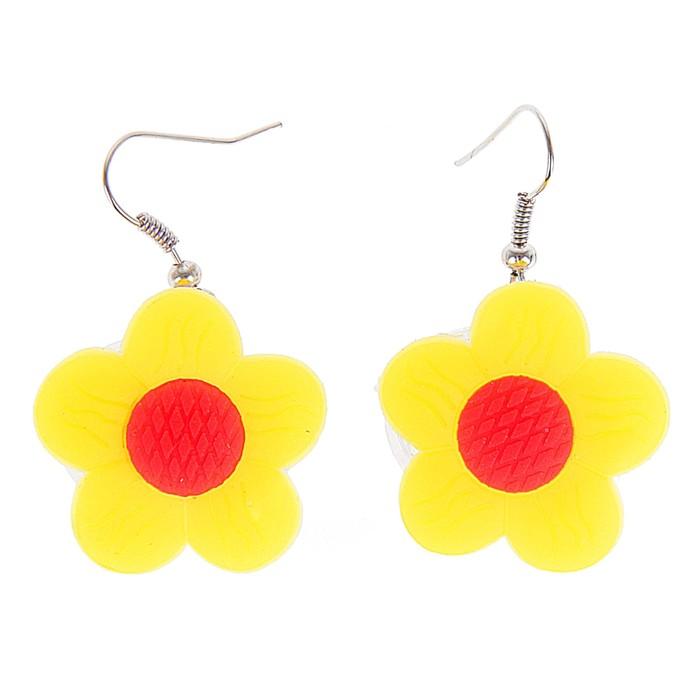 """Световые серьги """"Цветок"""" цвет желтый"""