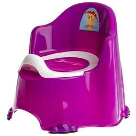 Горшок детский антискользящий «Комфорт» с крышкой, съёмная чаша, цвет фиолетовый