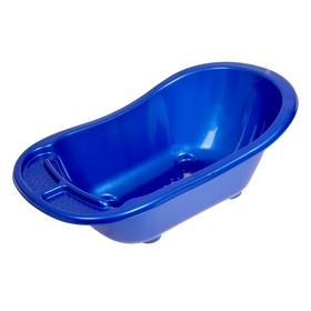 Детская ванночка со сливом, с аппликацией, цвет синий, голубой, зелёный