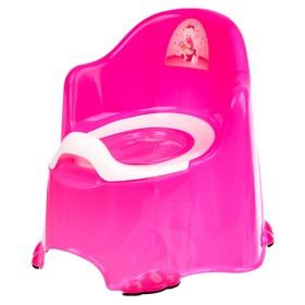 Горшок детский антискользящий «Комфорт» с крышкой, съёмная чаша, цвет розовый
