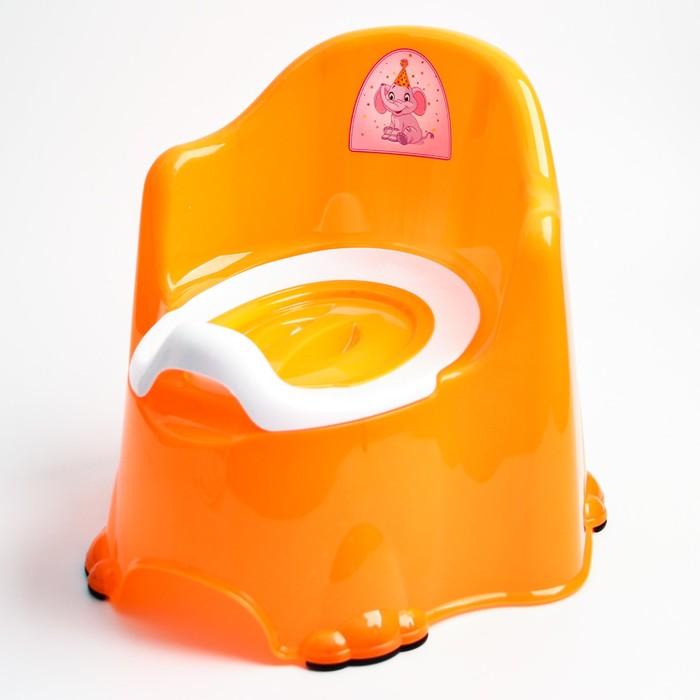 Горшок детский антискользящий «Комфорт» с крышкой, съёмная чаша, цвет оранжевый