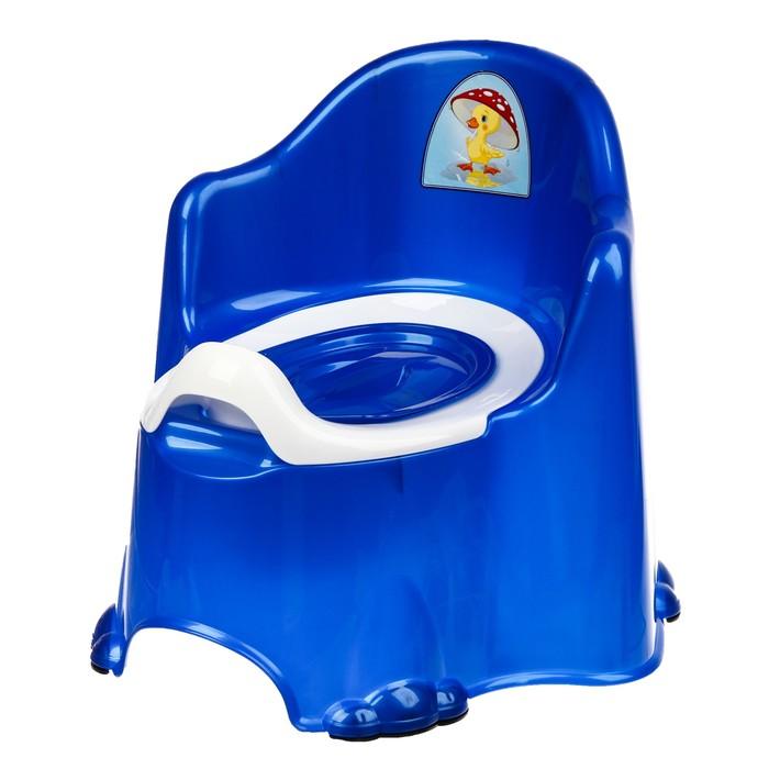 Горшок детский антискользящий «Комфорт» с крышкой, съёмная чаша, цвет синий перламутровый