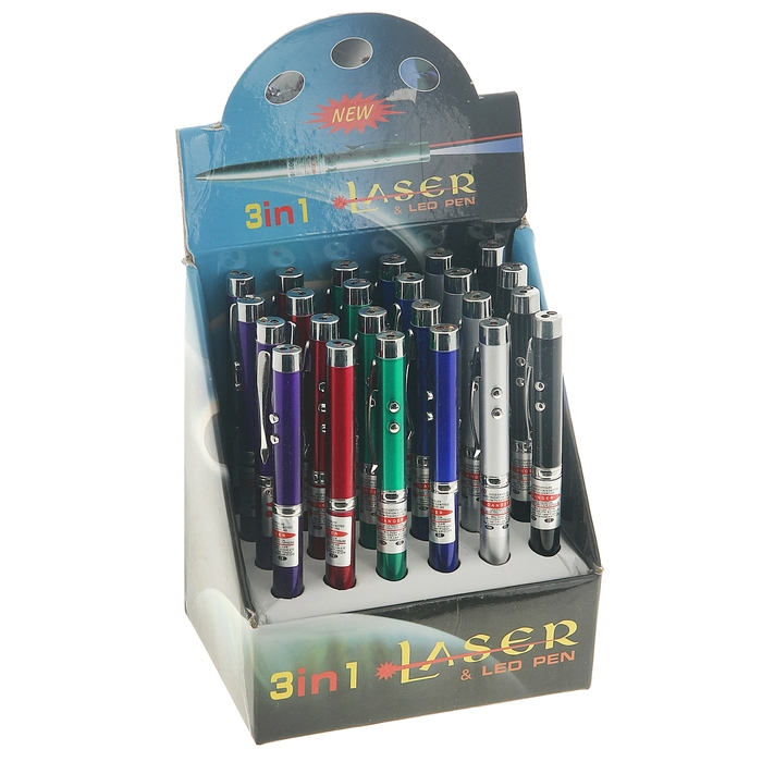 Ручка-фонарик лазер, цвета МИКС