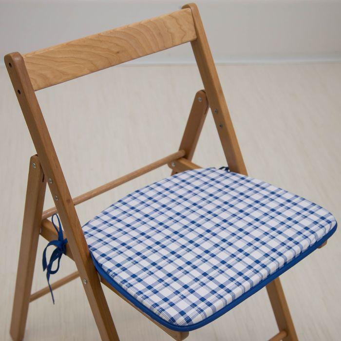 Подушка на стул «Синяя клетка», 41 х 36 х 3 см
