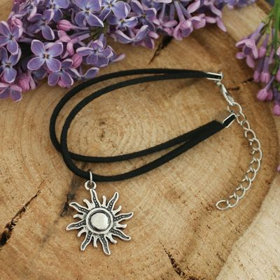 """Bracelet Assorti """"the Mysterious stranger"""" the sun, the color is black with blackened silver"""