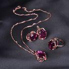 """Гарнитур 3 предмета: серьги, кулон, кольцо безразмерное """"Эдель"""" классик, цвет фиолетовый в золоте, 45см - фото 7470824"""