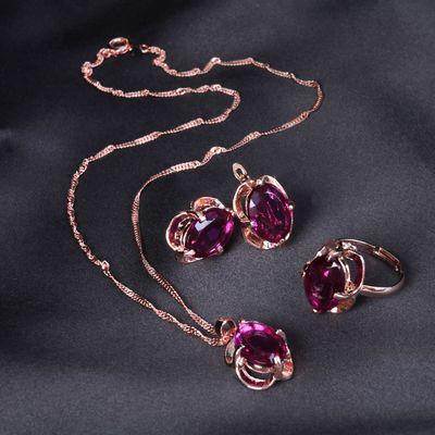 """Гарнитур 3 предмета: серьги, кулон, кольцо (безраз-ое) """"Овал"""" классик, цвет фиолетовый в золоте"""