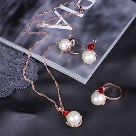 """Гарнитур 3 предмета: серьги, кулон, кольцо безразмерное """"Эдель"""" жемчужный галант, цвет бело-красный в золоте, 45см"""