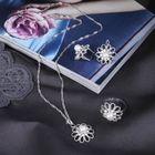 """Гарнитур 3 предмета: серьги, кулон, кольцо безразмерное """"Жемчужный цветок"""", цвет бело-радужный в серебре, 45см"""