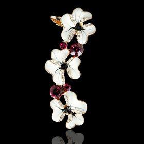 Серьга 'Каффа' цветы, трио, цветная в золоте Ош